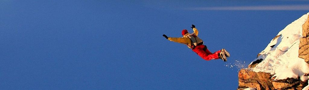 Sky diver taking self-employed leap
